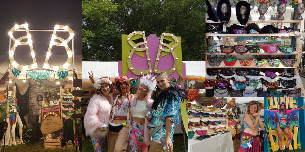 Collage showing beksies boutique festival shop, a shelf full of bum bags and people dressed in outlandish outfits.