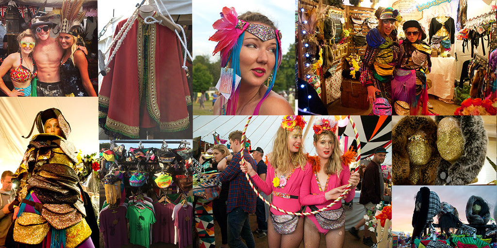 Collage showing beksies boutique festival shop, a huge pile of bum bags, people dressed in bright colours wearing bum bags and fanny packs.