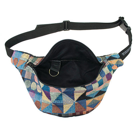A bumbag with geometrically designed pattern.