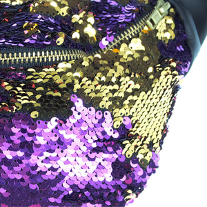 sequin bumbag - AMETHYNA purple and gold sequin bumbag fannypack. Adventuring in royalty Waist Pouch from beksies boutique