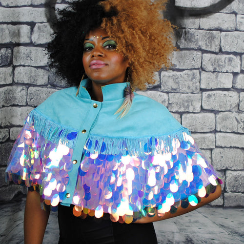 Cape - ANGELICA sequin cape with turquoise faux suede 100% silk lining and fringing Waist Pouch from beksies boutique