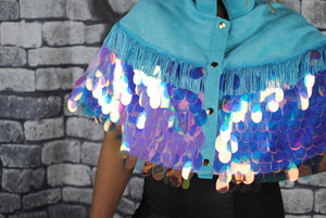 ANGELICA sequin cape with turquoise faux suede 100% silk lining and fringing - beksiesboutique