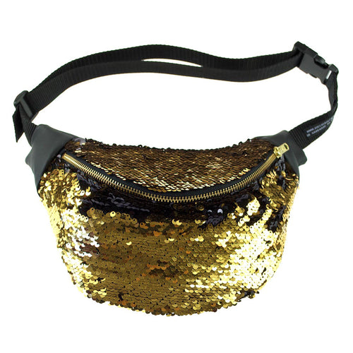 sequin bumbag - BOUDICCA gold and black sequin bum bag fanny pack. Burning man, festivals, nights out Waist Pouch from beksies boutique