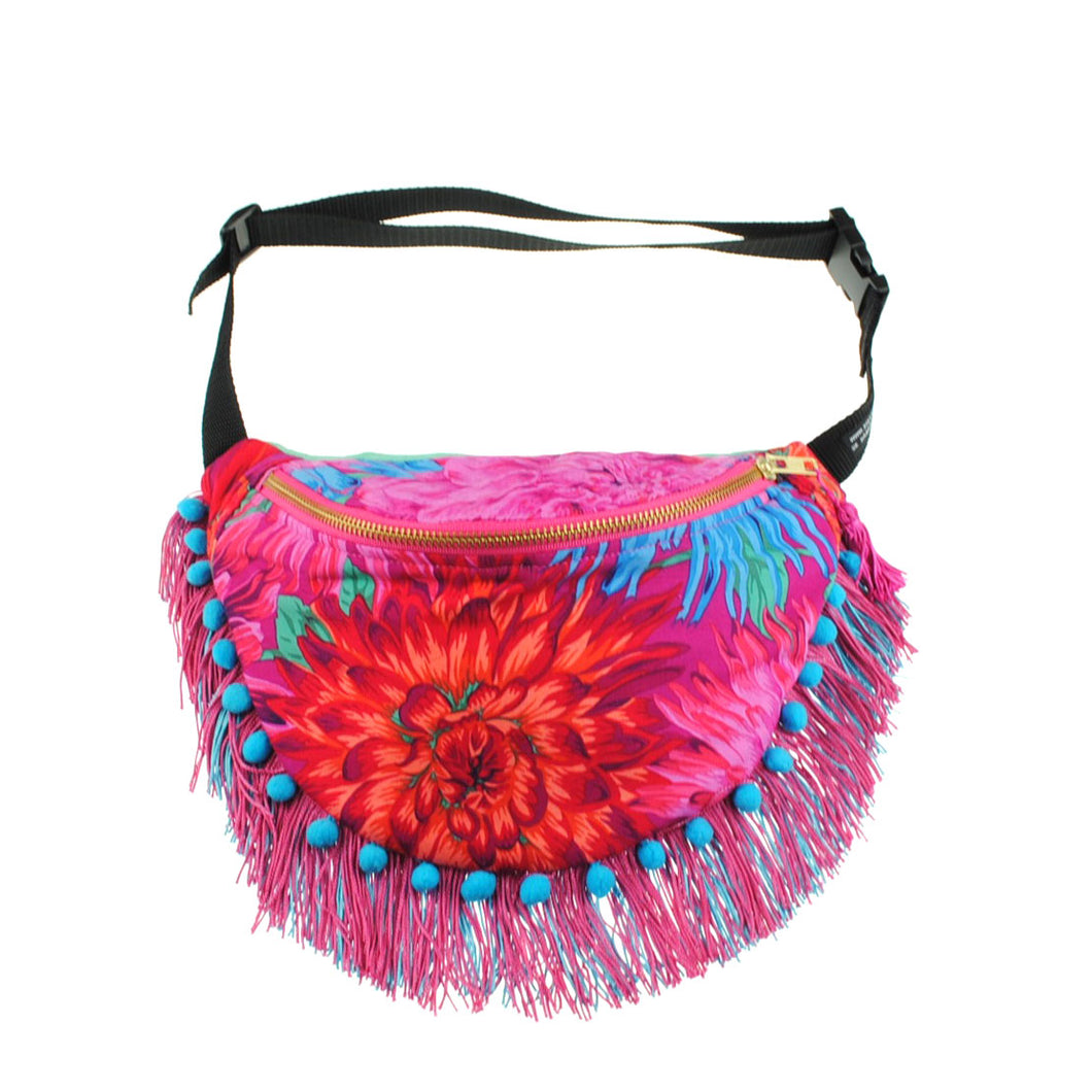 CRYZANTH in pink, pompom tassel cotton bumbag or fanny pack. Limited edition. metal ykk zipper pink. - beksiesboutique