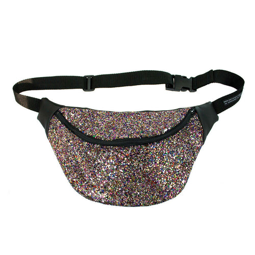 DISCO RAINBOW GLITTER fannypack, bumbag, waist pouch, ykk zipper, black Eco leather - beksiesboutique