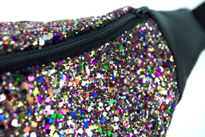 Glitter bumbag fannypack - DISCO RAINBOW GLITTER fannypack, bumbag, waist pouch, ykk zipper, black Eco leather Waist Pouch from beksies boutique