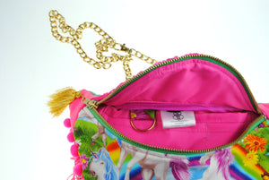 DOLLY unicorn pink neon sequin bumbag fannypack. Rainbow pompom fringe, gold chain belt. - beksiesboutique