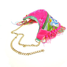 Fringed Bumbag Fanny Pack - DOLLY unicorn pink neon sequin bumbag fannypack. Rainbow pompom fringe, gold chain belt. Waist Pouch from beksies boutique