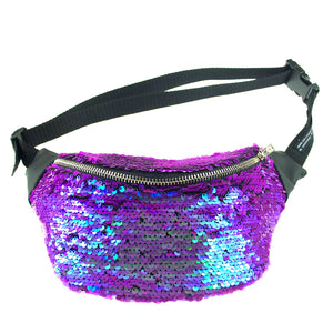 sequin bumbag - ELECTRA purple and blue iridescent sequin bumbag fanny pack Waist Pouch from beksies boutique