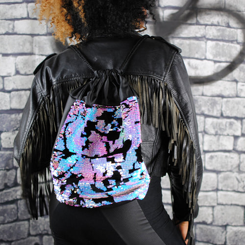 Backpack - ELECTRALITE backpack, sparkly pink and blue sequins. black velour. Black eco-leather. Waist Pouch from beksies boutique