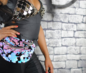 sequin bumbag - ELECTRALITE iridescent sequins on black velour bum bag fanny pack with eco leather. Waist Pouch from beksies boutique