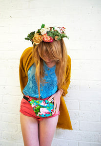 FLAMINGO 100% cotton bumbag fanny pack turquoise ykk zipper - beksiesboutique