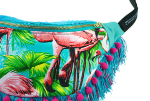 Fringed Bumbag Fanny Pack - FLAMINGO sequin fringed bumbag fannypack with pompoms and ykk turquoise zip. Tropical Waist Pouch from beksies boutique