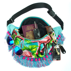 FLAMINGO sequin fringed bumbag fannypack with pompoms and ykk turquoise zip. Tropical - beksiesboutique