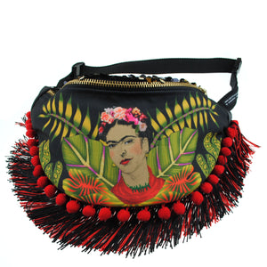 Frida inspired original illustration pompom fringed sequin bumbag fannypack. Exclusive fabric