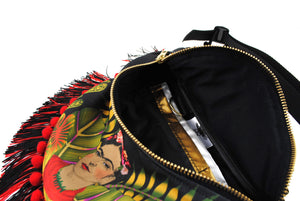 Frida inspired original illustration pompom fringed sequin bumbag fannypack. Exclusive fabric - beksiesboutique