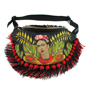 Fringed Bumbag Fanny Pack - Frida inspired original illustration pompom fringed sequin bumbag fannypack. Exclusive fabric Waist Pouch from beksies boutique