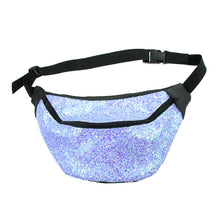 Glitter bumbag fannypack - FROZEN LAVENDER glitter fannypack, bumbag, hip bag, ykk zipper, black Eco leather IRIDESCENT Waist Pouch from beksies boutique