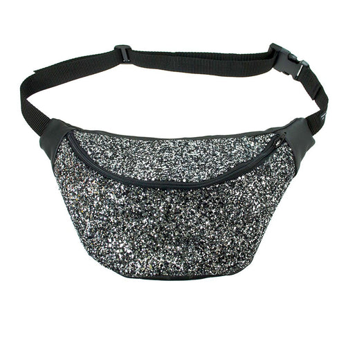 GALAXY glitter fannypack, bumbag, hip bag, ykk zipper, black Eco leather silver and black - beksiesboutique