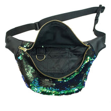 sequin bumbag - KRYPTONITE peacock mermaid sequin fannypack, metal ykk zipper. Bumbag burning man Waist Pouch from beksies boutique