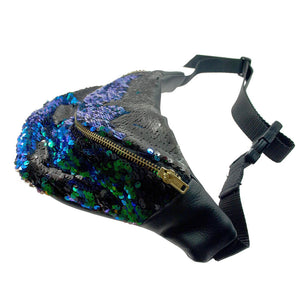 KRYPTONITE peacock mermaid sequin fannypack, metal ykk zipper. Bumbag burning man - beksiesboutique