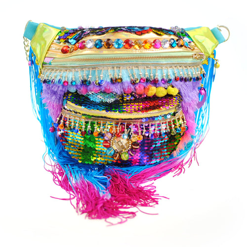 Large Bumbag - MARDI GRAS rainbow pride sequin fanny pack / bum bag/ waist pouch carnival! Waist Pouch from beksies boutique