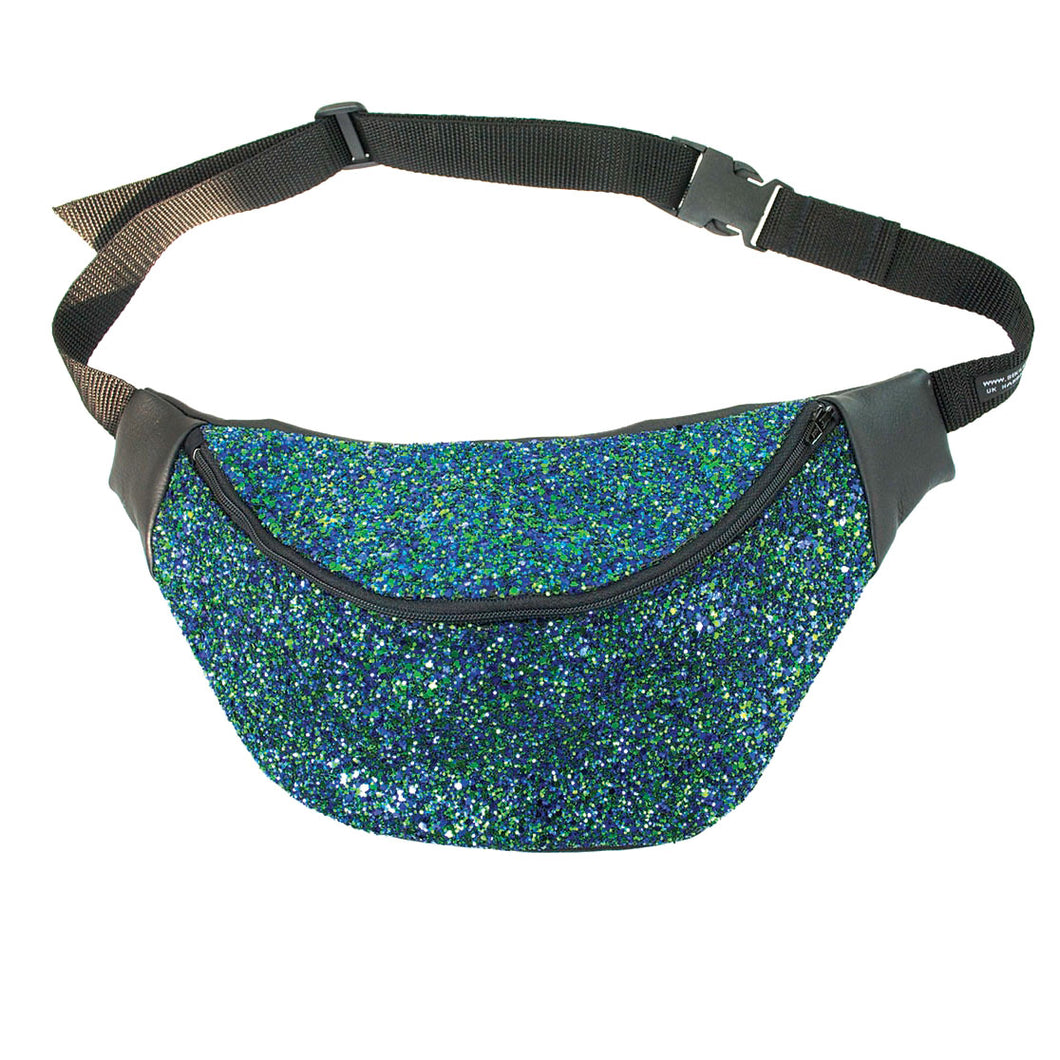 Glitter bumbag fannypack - PEACOCK GLITTER fannypack, bumbag, hip bag, ykk zipper, black Eco leather Waist Pouch from beksies boutique