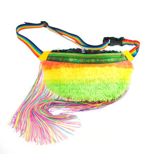 Fringed Bumbag Fanny Pack - PINATA in MARGARITA citrus rainbow faux fur fringed sequin fanny pack, waist pouch, bum bag Waist Pouch from beksies boutique