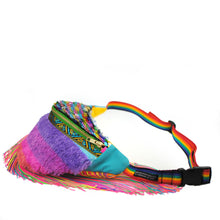 Fringed Bumbag Fanny Pack - PINATA in STRAWBERRY DAIQUIRI, berry rainbow faux fur fringed sequin fanny pack with fringe Waist Pouch from beksies boutique