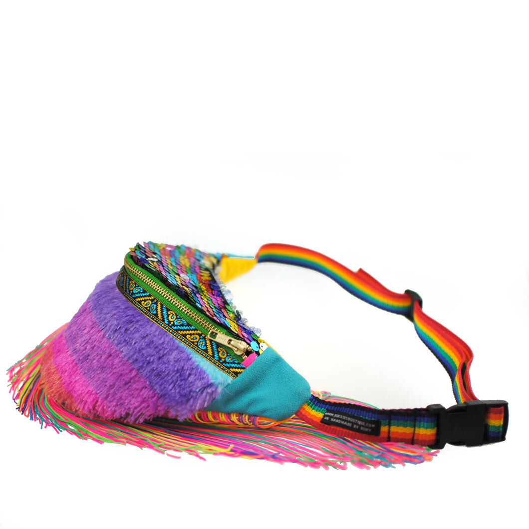PINATA in STRAWBERRY DAIQUIRI, berry rainbow faux fur fringed sequin fanny pack with fringe - beksiesboutique