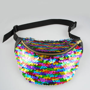 sequin bumbag - RAINBOW holographic sequin bumbag fannypack. Rainbow Serpent Festival Waist Pouch from beksies boutique
