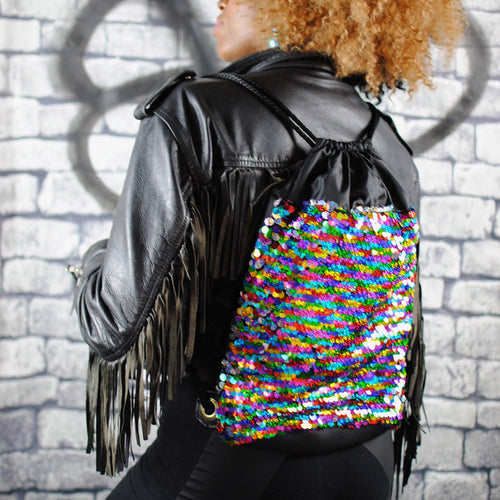 Backpack - RAINBOW holographic sequin backpack, Black eco-leather. Waist Pouch from beksies boutique