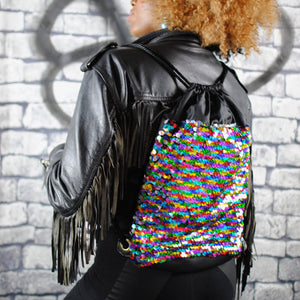 Backpack - RAINBOW holographic sequin backpack, Black eco-leather. from beksies boutique