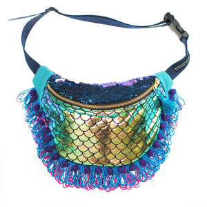 eb8eb908d0 BLUE LAGOON mermaid sequin fanny pack with fringe, bumbag, waist pouch -  Festivals,