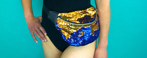 BOOTY sequin bumbag fannypack. gold and blue festival bag - beksiesboutique