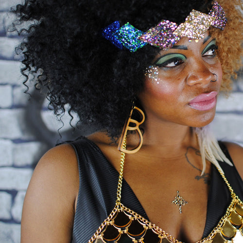 Geometric GLITTER headdress, GOLD, disco, peacock and blue. Tiara - beksiesboutique