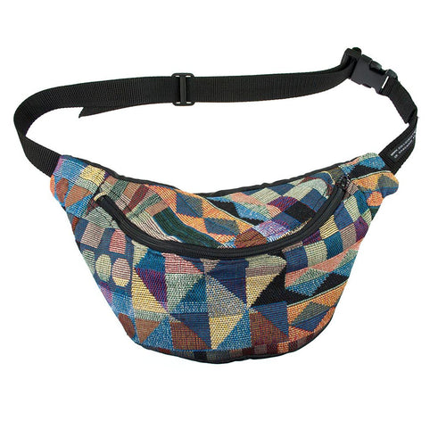 Geometric bum bag fanny pack tapestry, black ykk zip. fully lined fanny pack - beksiesboutique