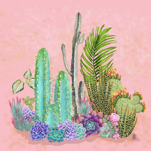 Wall Hangings 'Plants on Pink' Original illustration - beksiesboutique