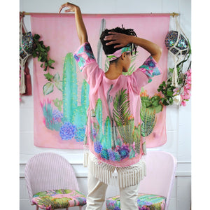 Kimono, Illustrated plants on pink, living my best cacti life! - beksiesboutique