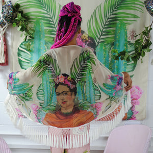 Kimono, Illustrated Frida on Vanilla, Exclusive original artwork - beksiesboutique