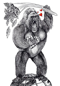 Hand Illustrated Cards 'Love King Kong' Was £3 now £2