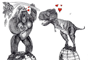 Hand Illustrated Cards 'King Kong loves T-rex' Was £3 now £2
