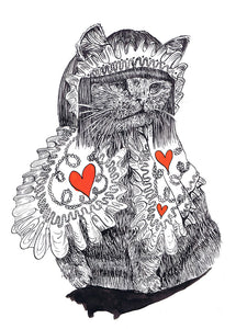 Hand Illustrated Cards 'Queen of hearts' cat card Was £3 now £2