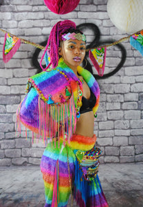 Glitter Headdress - RAINBOW GLITTER headdress, Tiara. Pride, festival, carnival. Waist Pouch from beksies boutique