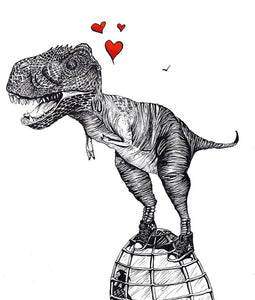 Hand Illustrated Cards 'Love T-Rex' Was £3 now £2