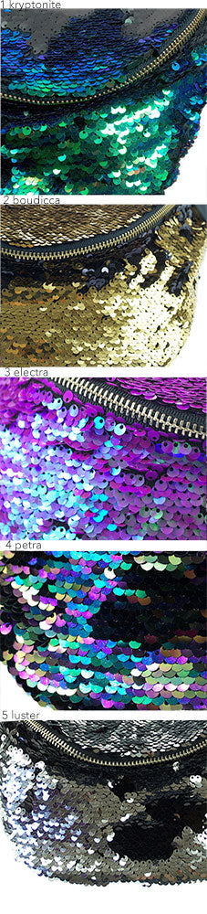 sequin hood - Sequin and faux fur hoods, choose your colour. Waist Pouch from beksies boutique