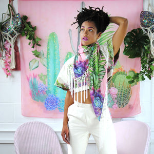100% Silk Shawl Scarf. Exclusive illustration 'Plants on Pink' - beksiesboutique