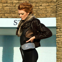 Glitter bumbag fannypack - SILVER GLITTER fannypack, bumbag, hip bag, ykk zipper, black Eco leather Waist Pouch from beksies boutique