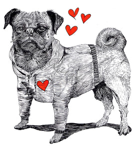 Hand Illustrated Cards 'Pug Love' Was £3 now £2