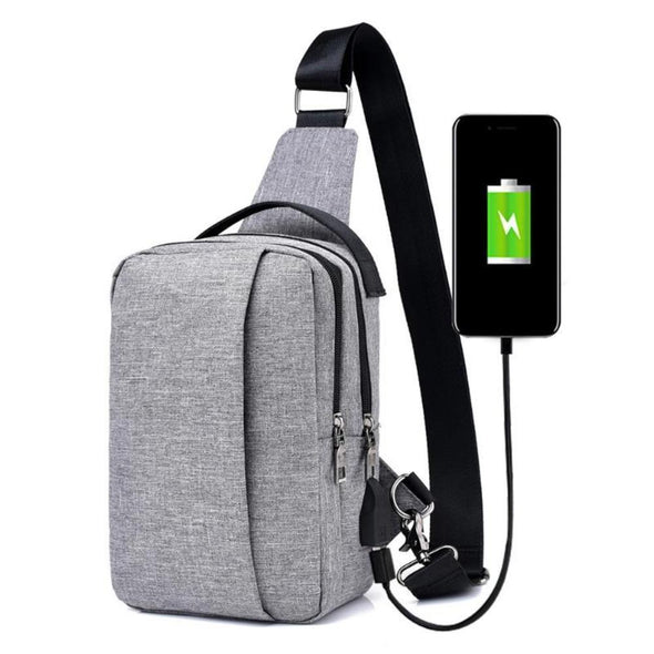 Anti-Theft Casual Sling Bag with USB Charging-Readyprosupply-Readyprosupply